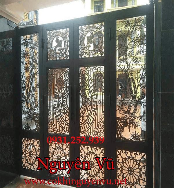 cửa cổng sắt cắt CnC nguyên khối