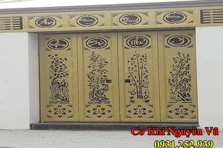Cửa sắt CnC cắt hình hoa văn theo phong thủy.