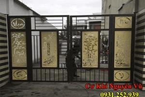 Cửa cổng sắt cắt CnC kết hợp sắt hộp.